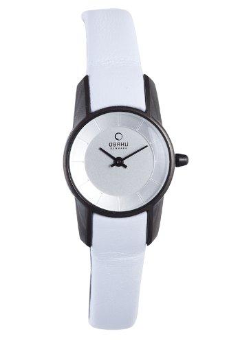 オバック レディース 腕時計 Obaku by Ingersoll ladies silver dial white leather strap watch V130LBIRW