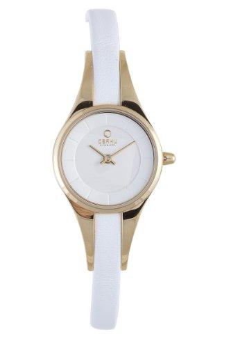 オバック レディース 腕時計 Obaku By Ingersoll Ladies Gold Case White Leather Strap Watch V110LGIRW