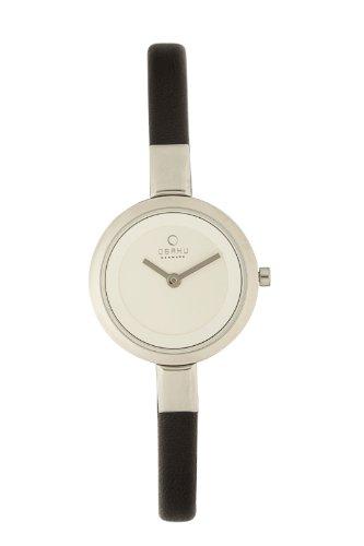 オバック レディース 腕時計 Obaku Women's Quartz Watch with White Dial Analogue Display and Black Leather Strap V129LCIRB-N