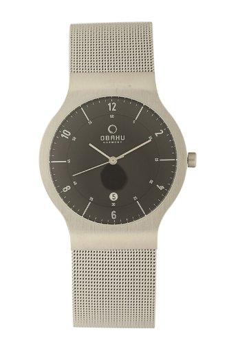 オバック メンズ 紳士用 腕時計 Obaku Men's Quartz Watch with Black Dial Analogue Display and Grey Stainless Steel Bracelet V133GCBMC-N2