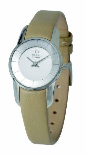 オバック レディース 腕時計 Obaku Women's Quartz Watch with Silver Dial Analogue Display and Beige Leather Strap V130LCIRX-N2
