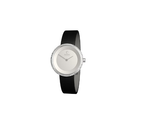 オバック レディース 腕時計 Obaku Women's Quartz Watch with Silver Dial Analogue Display and Black Leather Strap V146LCIRB1