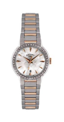 ロータリー レディース 腕時計 Rotary Women's Quartz Watch with Mother of Pearl Dial Analogue Display and Silver Stainless Steel Bracelet LB02844/41