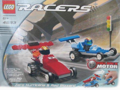 レゴ レーサー LEGO Racers 4593 Zero Hurricane & Red Blizzard Car Set 70 Pieces with Pull Back Motor