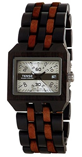 テンス 時計 腕時計 木製 Tense Discovery Comox Rectangular Two-Tone Sandalwood Wood Watch B5100DS