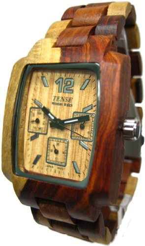 テンス 時計 メンズ 腕時計 木製 Tense Inlaid All Wood Watch Jumbo Multicolored Natural Mens J8302I
