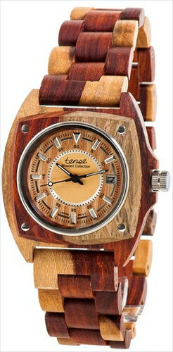 テンス 時計 メンズ 腕時計 木製 Tense Wood Unique Two-Tone Watch Mens Discovery Trail G4101I LF