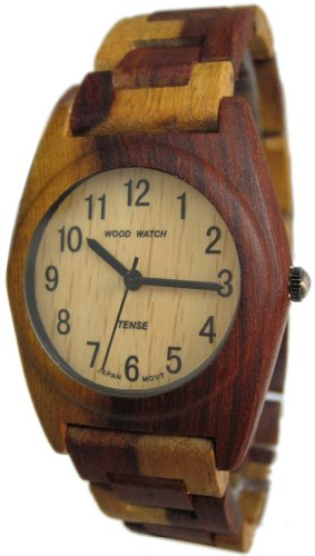 テンス 時計 メンズ 腕時計 木製 Tense Inlaid Multicolor Round Hypoallergenic Mens Wood Watch G8109I