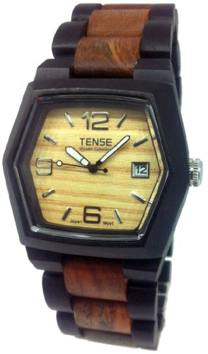 テンス 時計 メンズ 腕時計 木製 Tense Wood Watch Mens Two-Tone w/Date Window G8300DS LF (Light Face)