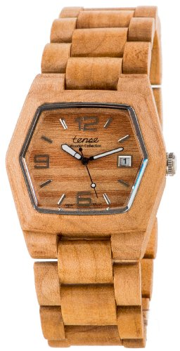 テンス 時計 メンズ 腕時計 木製 Tense Mens Maple Wood Date Window Hexagon Watch G8300M (Light Face)