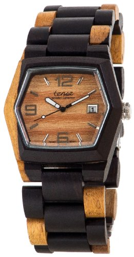 テンス 時計 メンズ 腕時計 木製 Tense Wood Watch Mens Inlaid Multicolor w/ Date Window G8300DM LF (Light Face)