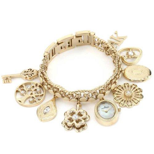 アンクライン 時計 レディース 腕時計 ブレスレットウォッチ Anne Klein Women's 10-8096CHRM Swarovski Crystal Accented Gold-Tone Charm Bracelet Watch