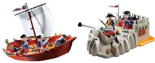 プレイモービル 5948 5949 戦艦 Playmobil Gift Set: Soldiers Boat and Bastion