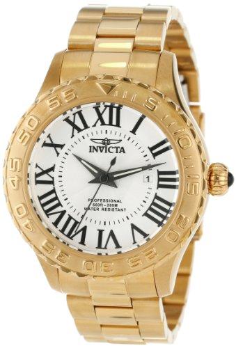 インビクタ 時計 インヴィクタ メンズ 腕時計 Invicta Men's 14379 Pro Diver Silver Textured Dial 18k Gold Ion Plated Stainless Steel Watch