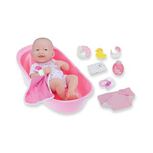"""JCトイズ ベビードール 赤ちゃん人形 着せ替え おままごと ジェーシートイズ JC Toys 8 piece Layette Deluxe Bathtub Gift Set   JC Toys - La Newborn   14"""" Life-Like Smiling Vinyl Newborn Doll/ Accessories   Pink   Waterproof  Ages"""