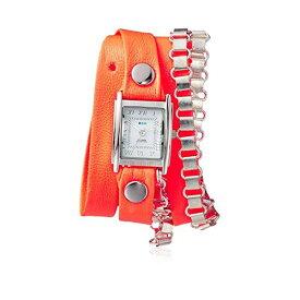 ラメール コレクションズ 腕時計 La Mer Collections LMPYRAMID001 レディース ウォッチ 女性用 La Mer Collections Women's Japanese Automatic Movement Silver IP Plated Stainless Steel and Leather Watch, Color:Neon Orange (Model: LMPYRAMID001)