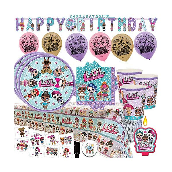 LOLサプライズ グッズ パーティーセット LOL Surprise Mega Deluxe Party Supply Pack and Decorations for 16 Guests with Plates, Cups, Napkins, Tablecover, LOL Candle, Tattoos, 6 Balloons, Birthday Banner, and EXCLUSIVE Birthday Pin by Another Dream!