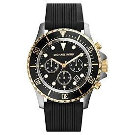 マイケルコース Michael Kors メンズ 腕時計 時計 Michael Kors Everest Chronograph Black Dial Black Silicone Mens Watch MK8366