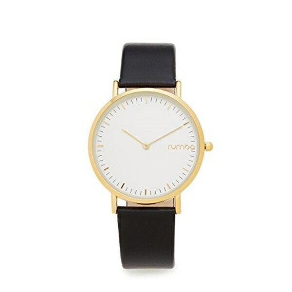 ルンバタイム RumbaTime レディース 腕時計 時計 RumbaTime Women's SoHo Leather Lights Out Watch, Black/Gold, One Size