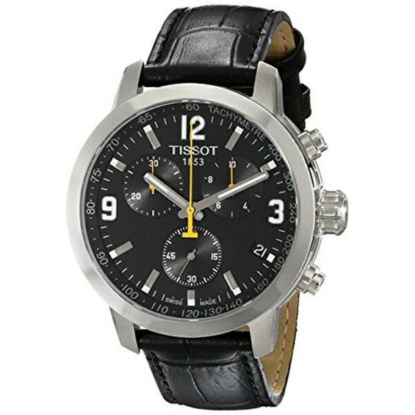 ティソ Tissot 腕時計 メンズ 時計 Tissot Men's TIST0554171605700 PRC 200 Chronograph Stainless Steel Watch with Black Leather Band