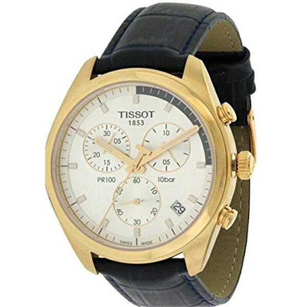 ティソ Tissot 腕時計 メンズ 時計 Tissot T1014173603100 Pr100 Mens Watch - Silver Dial, Leather Strap