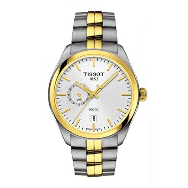 ティソ Tissot 腕時計 メンズ 時計 Tissot T101.452.22.031.00 Men's Watch PR 100 Gent Dualtime Silver/Gold 39mm Stainless Steel