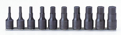 """Ko-kenRS4012A/10-L601/2""""sq.ヘックスビットソケットレールセットインチサイズ全長60mm10ヶ組(純正収納ビニールケース付)コーケン(Koken/山下工研)"""