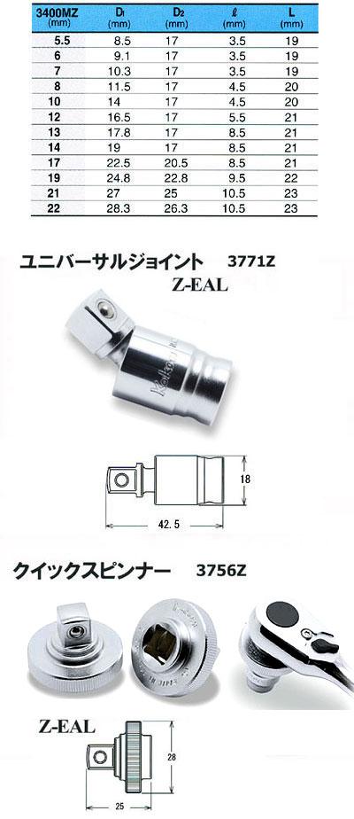 山下工業研究所(Ko-ken)_ソケットセット_Z-EAL_3285ZA_15Pcs_差込角:9.5mm_15点_1セット