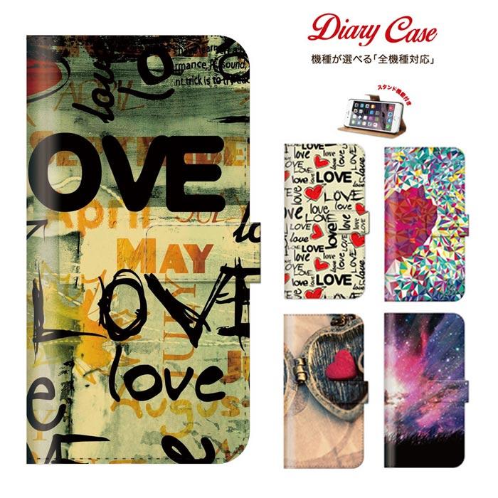 iPhone8 plus iphone7ケース スマートフォン 手帳型 ケース 全機種対応 iphone6 ケース エクスペリア 手帳型 ケース love peace happy 可愛い モダンな