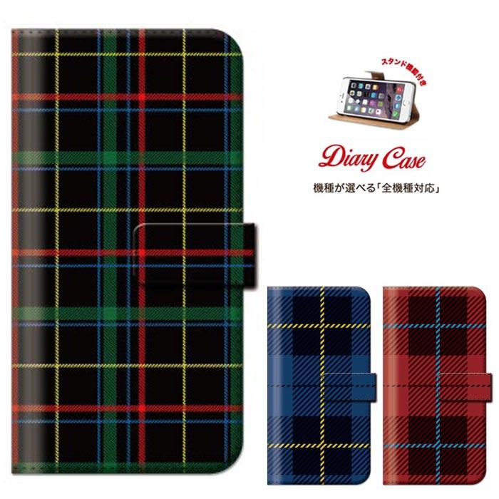 iPhone8 plus iphone7ケース 手帳型 全機種対応 メール便 送料無料 Xperia Z5 iPhone6sケース 6 Disney Mobile Nexus 6 isai VL チェック柄 チェック PLADE
