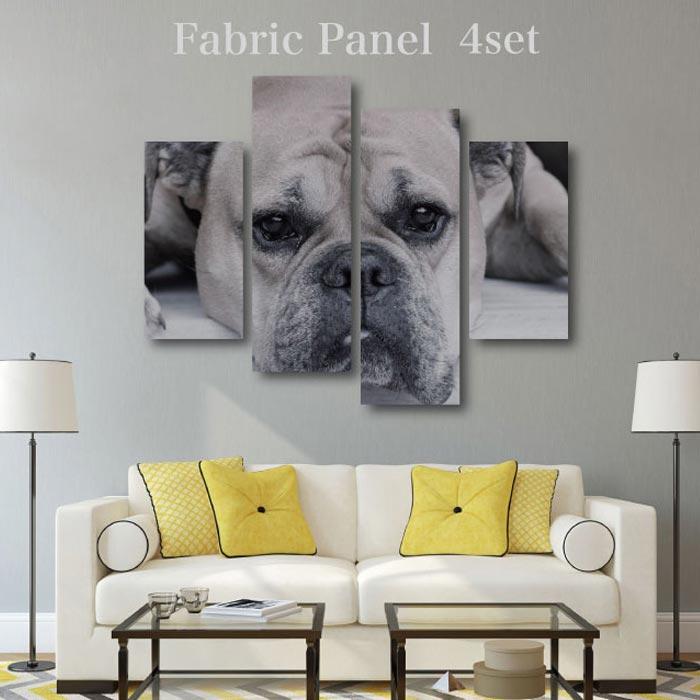 【犬のデザイン 12デザインから選べる ファブリックパネル 4枚セット】 犬 ドッグ dog 写真 フォト 木工 布プリント 取り付け部材付き【サイズ 130cm x 100cm 】