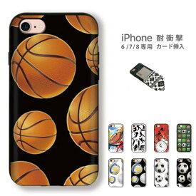 バスケットボール デザイン【 iPhone8 iPhone7 iPhone6 6s 】専用 カード挿入OK! 耐衝撃 スマホケース プラスチック製 basketball soccor sports