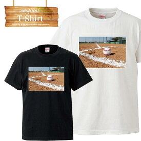 野球 ベースボール baseball グローブ バット 球場 スタジアム ピッチャー バッター メジャーリーグ ロゴ 写真 フォト フォトT Tシャツ プリント デザイン 洋服 t-shirt 白 黒