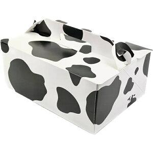 ケーキ箱 105 OPL モーモー 5×7(200枚) 150×210×105mm 牛柄オープンロック ショートケーキ用 手提げサイドオープン式 パッケージ中澤