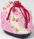 子供用巾着 ピンクに友禅花柄/黒竹かご 女の子用の浴衣、七五三、お正月、手提げ和装小物