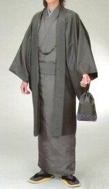 男物着物フルセット グレー系アンサンブル仕立上り、襦袢、帯、羽織紐、巾着 家庭で洗える H・L紳士きもの 送料無料【tokai_gw_shippingfree0501】【toukai-point-up】