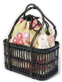 ゆかた巾着 ベージュ地に花柄刺繍 竹かご付巾着大き目 和装バッグ 和雑貨