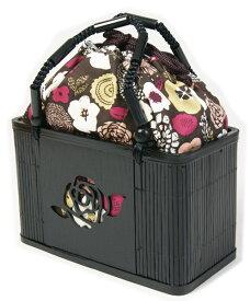 ゆかた巾着 こげ茶地に花柄 竹かご付巾着大き目 和装バッグ 和雑貨