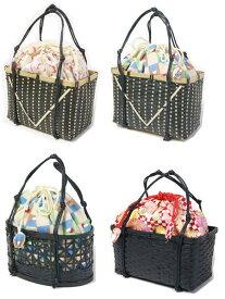 女性ゆかた巾着 黒色竹かご付 和装バッグ 和雑貨