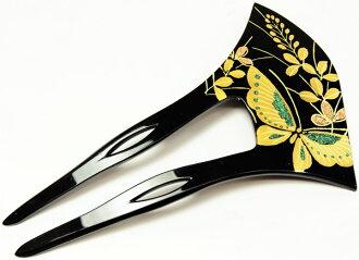 簪子(簪子)扇子型2只脚中的蝴蝶花纹钱加工泥金画簪子(钱加工)黑色日式服装头饰和睦杂货