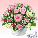 ピンクバラのアレンジメント花キューピット