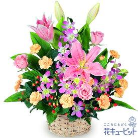 花キューピット【お祝い】ピンクユリのアレンジメントyc00-511254 誕生日 退職 歓送迎 結婚 記念日 プレゼント
