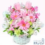 春のピンクアレンジメント花キューピット