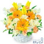 春のイエローアレンジメント(イエロー&オレンジ)花キューピット