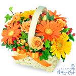 オレンジ&イエローのアレンジメント花キューピット