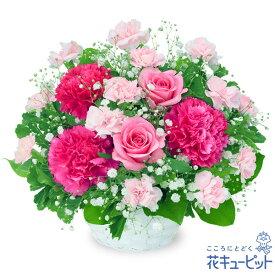 花キューピット【お祝い】ピンクバラのアレンジメントyc00-511964 誕生日 退職 歓送迎 結婚 記念日 プレゼント