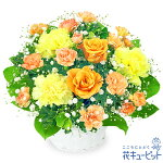 オレンジバラのアレンジメント花キューピット
