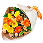 イエロー&オレンジガーベラの花束花キューピット