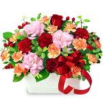赤バラとトルコキキョウのアレンジメント花キューピット