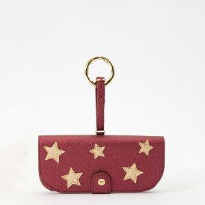 IPHORIA アイフォリア Glasses Case with Bag Holder - Dark Red With Golden Stars & hook in gold サングラスケースウィズバッグホルダー ダークレッドウィズゴールデンスター&フックインゴールド サングラス サ